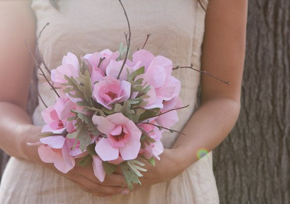 Crisp Pink Spring Cherry Blossom Wedding Bouquet by loveleeflowers, $350.00