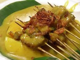 sate padang (padangnese satay) - indonesian food