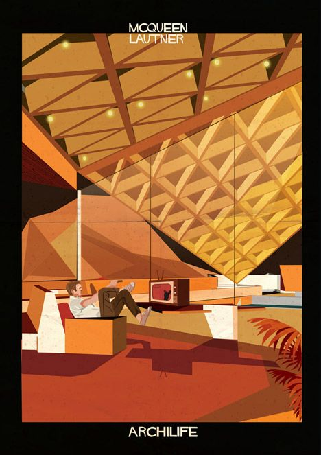 Federico Babina imagines film stars living inside famous architect-designed houses http://www.dezeen.com/2014/11/10/federico-babina-imagines-movie-stars-famous-architect-designed-houses-archilife-illustration/