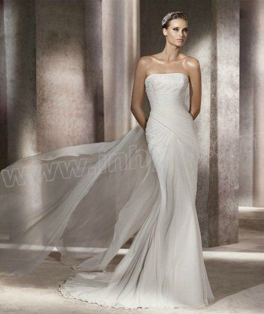 Chiffon Mermaid Strapless Straight Neckline Side Gathered Bodice Wedding Dress