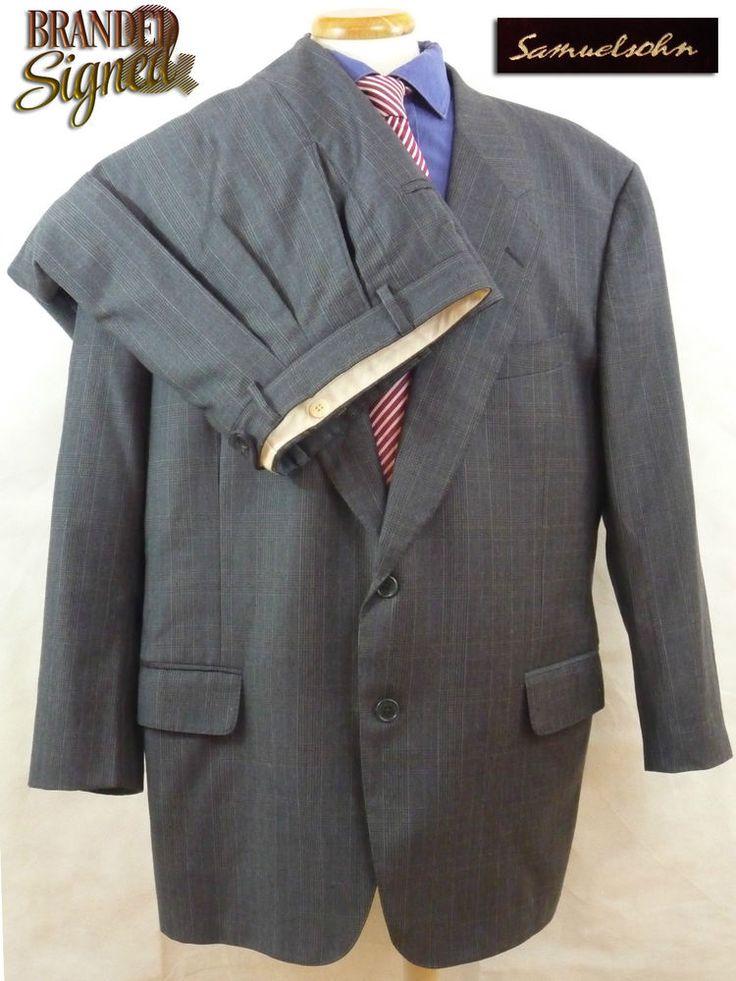 1700$ Samuelsohn SB COMO Suit 48R FULL CANVAS 2 Btns Blue Plaid 42 X 29 2 Pleat