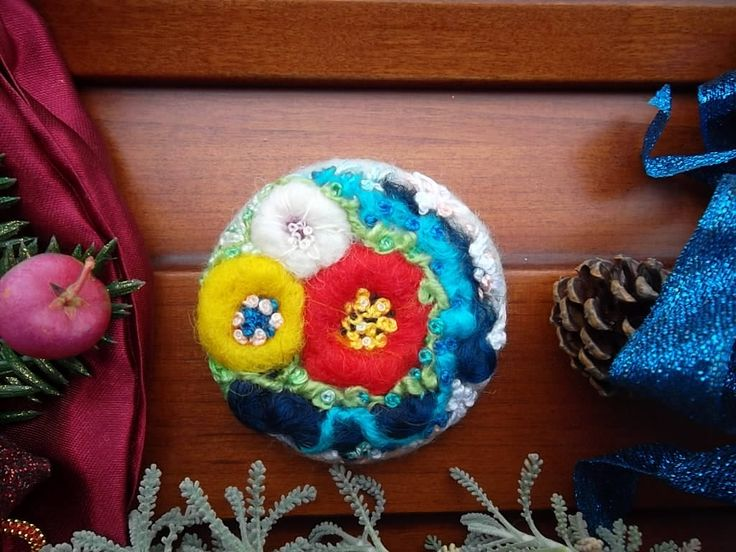 Felt brooch red blossoms floral felt jewelry art brooch Lolita unique boho needle felt hand embroidered birthday easter gift for mom sister by MondoTSK on Etsy