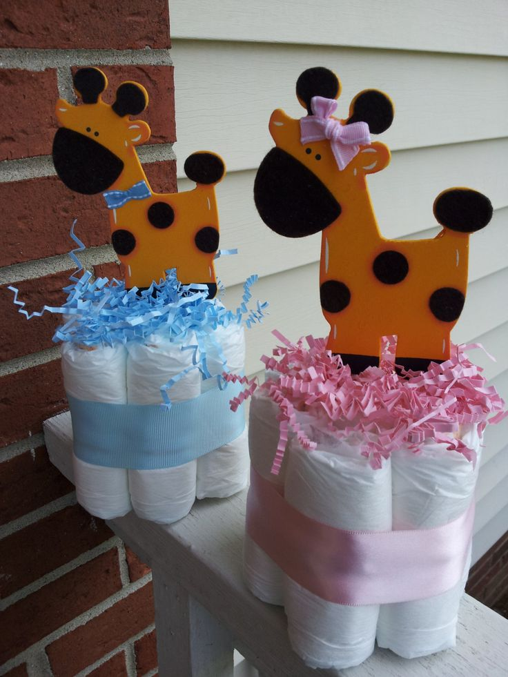 giraffe mini diaper cakes boy or girl baby shower centerpieces baby