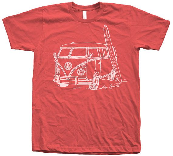 Men Unisex Vintage Van Surf T Shirt Custom Hand Screen Print American Apparel Crew Neck Available: S, M, L, XL, XXL