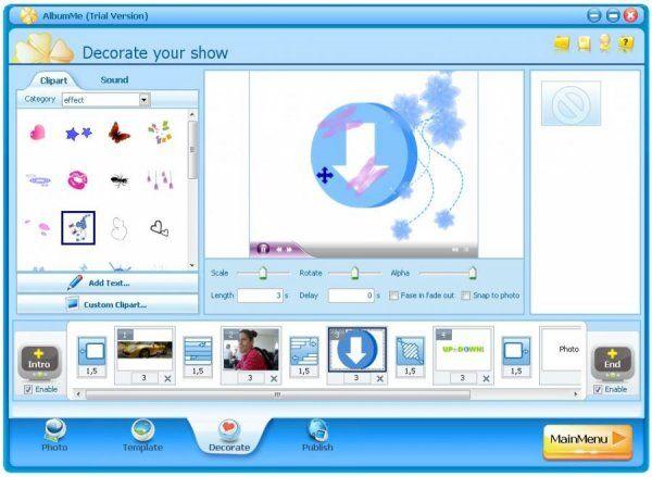 AlbumMees un fantástico software que tiene como principal funcionar diseñar pases de diapositivas de fotos digitales por medio de una competición de listas a través de las plantillas animadas con efectos de transición, capacidad de