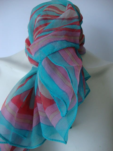 Water colour womens scarf pale pastel printed scarf cool colour neck wrap hand painted scarf teal blue pale peach orange vintage dress scarf by Janglesdesigns on Etsy