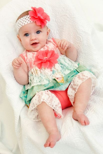 Peaches n Cream Lace Romper with Headband WANT 12m