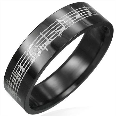 Black Stainless Steel Musical Notes Ring