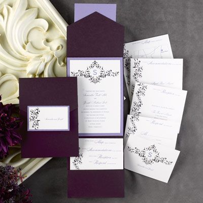 Elegant Floral White and Raisin #Pocket with Lavender Backer #WeddingInvitation http://foreverfriendsfinestationeryandfavors.com