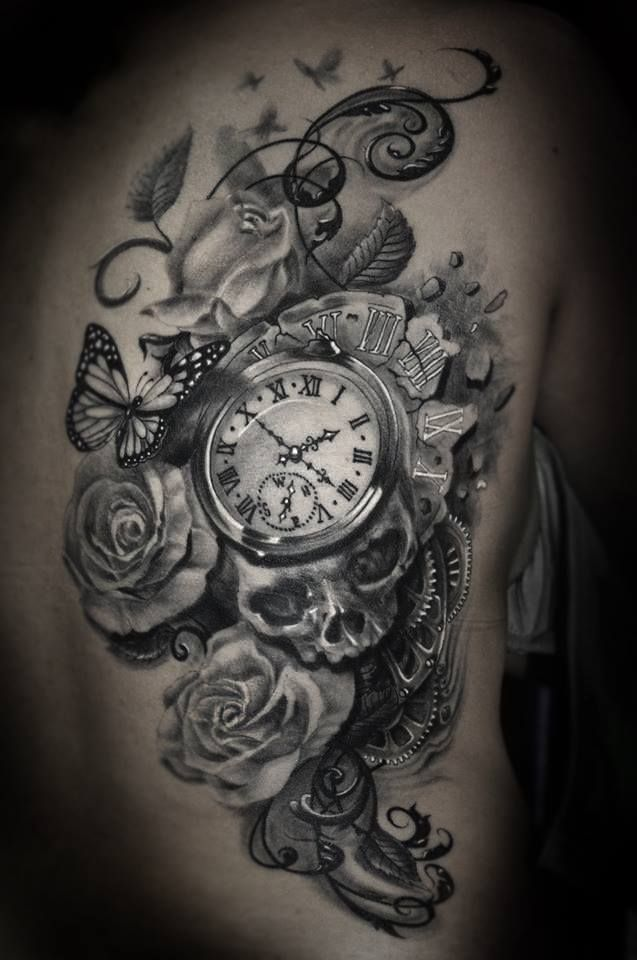beautiful watch rose skull tattoo (Main piece on Left side of back with butterflies whisping over to right upper shoulder blade.)