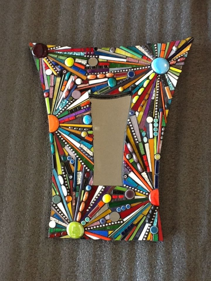 Small Funky mirror made with glass, glass rods, gems, beads, ball chain, etc.