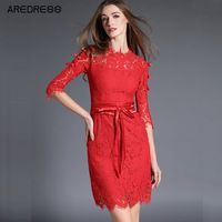 2016 Women Sheath Crochet Sexy Slim Stretch Bodycon Lace Dress Ladies Office Lace Up Autumn Wrap Dress Clothing
