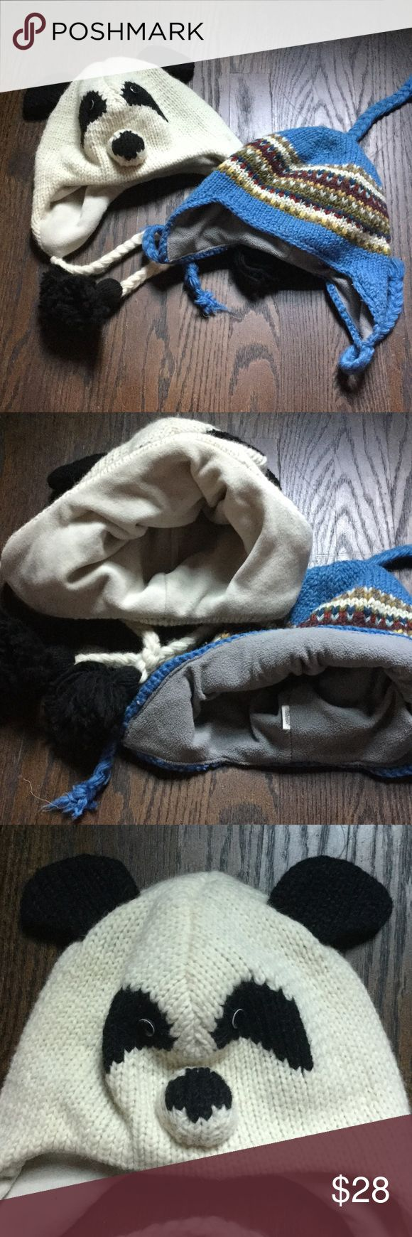 "Pre-ski sale! Handmade hats!  Kid/adult size. Wear this, like this…PRE-SKI SALE! Stay toasty and warm with these handmade boutique hats. 100% wool exterior naturally repels water. Fleece lining is soft and itch free. Both like new. ""Animal"" hat is natural ivory with black and ""Nordic"" blue is a mid tone blue gray with multi colored pattern. Both fit a large child or small adult. Animal hat fits up to a 23 inch circumference and Nordic hat fits up to a 21 inch circumference. Feel free to ask…"