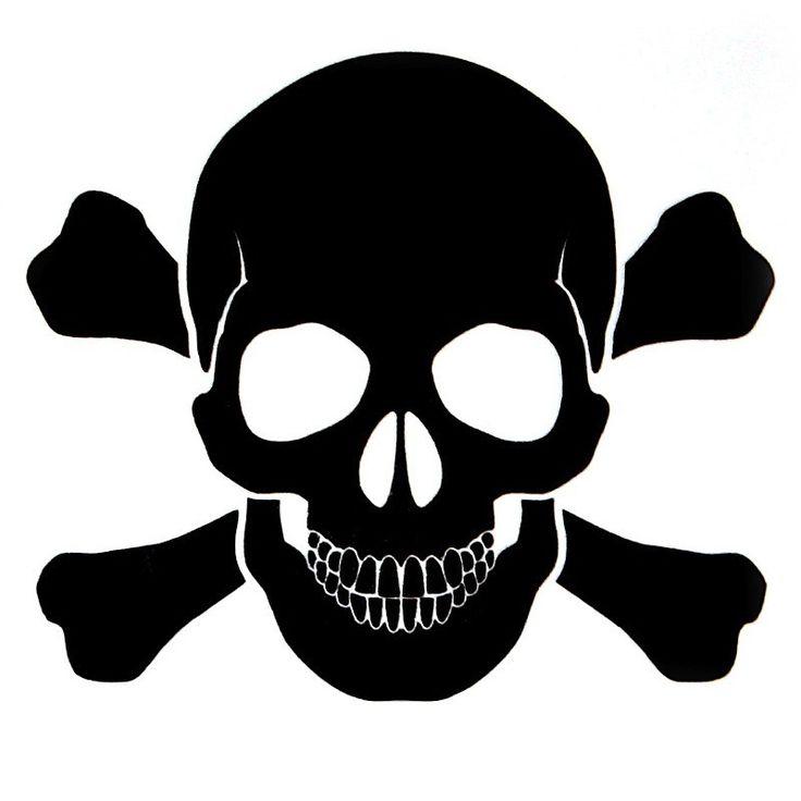 "Black Skull and Bones Decal - 3"" x 3"""