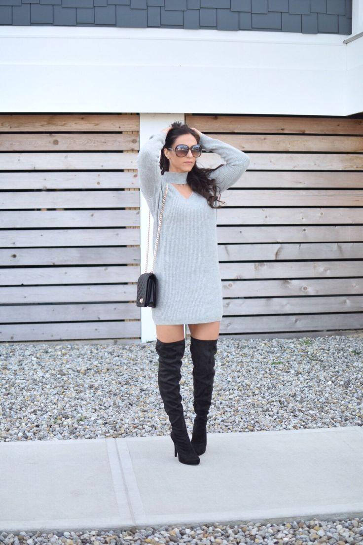 Women's fall fashion - choker dress - over the knee boots - OTK boots - black purse http://liketk.it/2txtW #liketkit @liketoknow.it