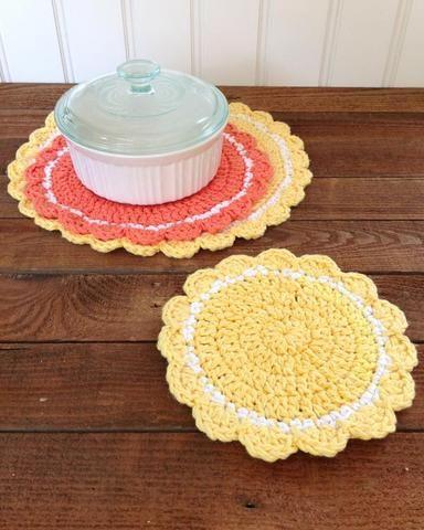 crochet round yellow orange hot pad white dish