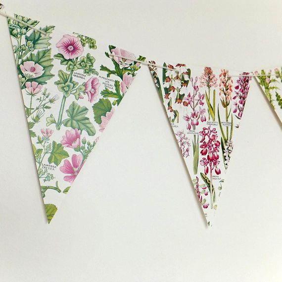 Pink Floral Botanical Bunting recycled banner by PeonyandThistle