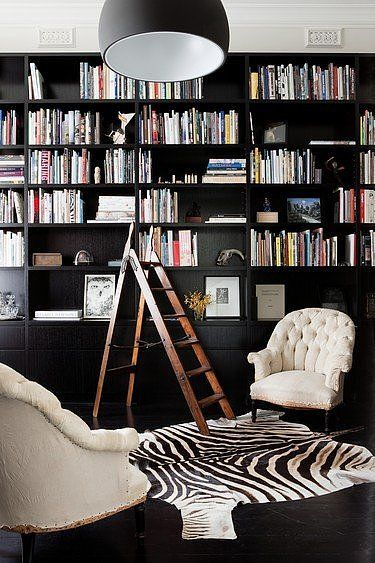 A Lovely Library. Black built ins. Interior Design by Nixon Tulloch Fortey