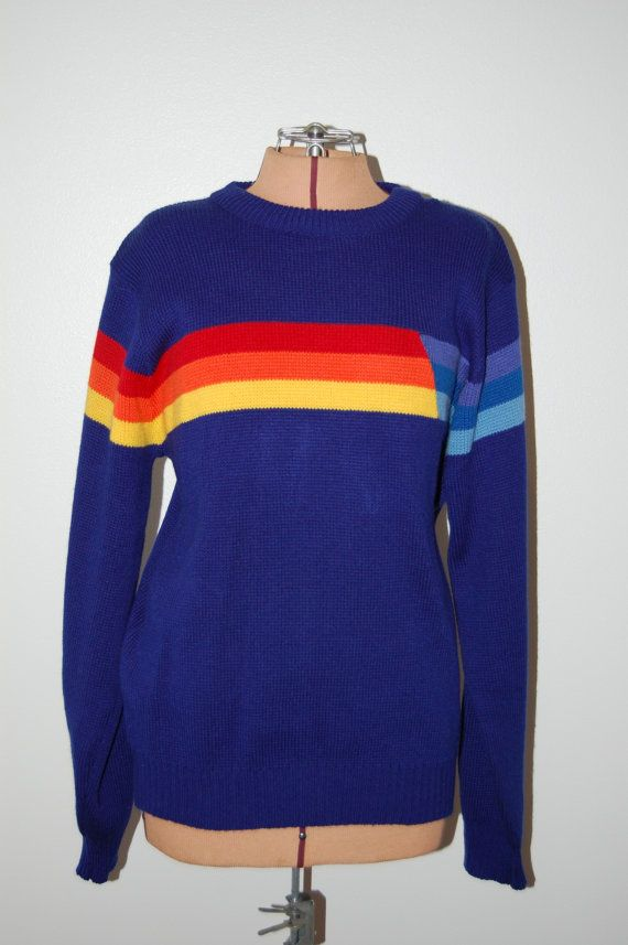 Vintage 1980s Color Block Technicolor Rainbow Striped Crew Neck Novelty  Oversized Knit Pullover Sweater. Unisex Mens Womens Size Large