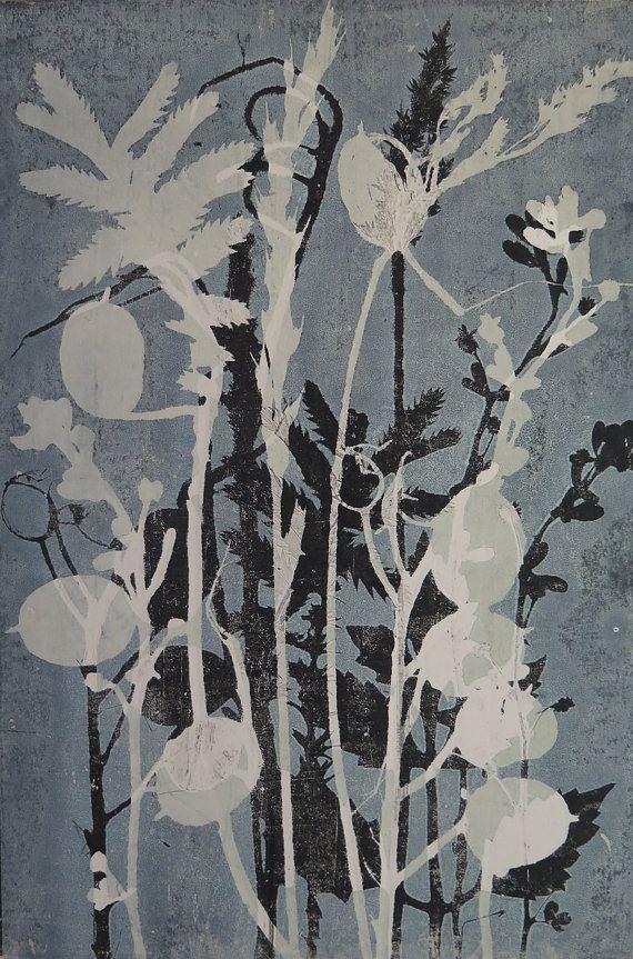 A unique original floral monoprint Wild flowers grasses & honesty Botanical nature printing Wild flowers Duck egg blue Dusky vintage colour