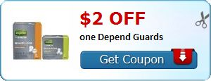 New Coupon!  $2.00 off one Depend Guards - http://www.stacyssavings.com/new-coupon-2-00-off-one-depend-guards/