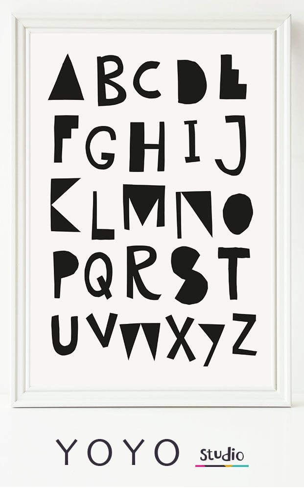 Black and White Alphabet Poster for Nursery. Nursery art that would be great in a unisex babies room. Hand Lettered Alphabet Print. Digital Download