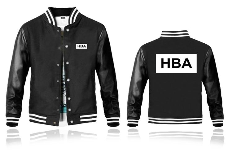 Mens HBA Leather Sleeves Black Baseball Jacket White HBA Printed Back