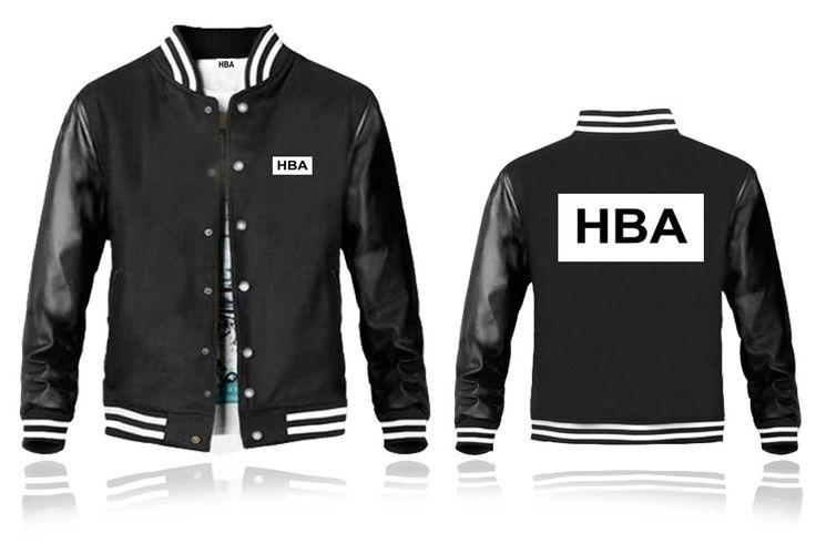 Mens HBA Leather Sleeves Black Baseball Jacket White HBA Printed Back