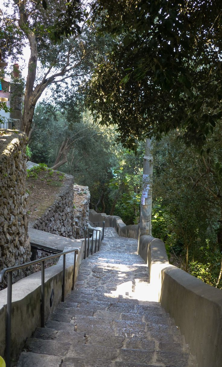 Walking the stairs to One Fire Beach in Praiano