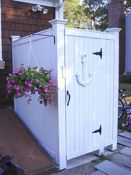 14 best outdoor shower stalls images on pinterest for Outdoor shower doors