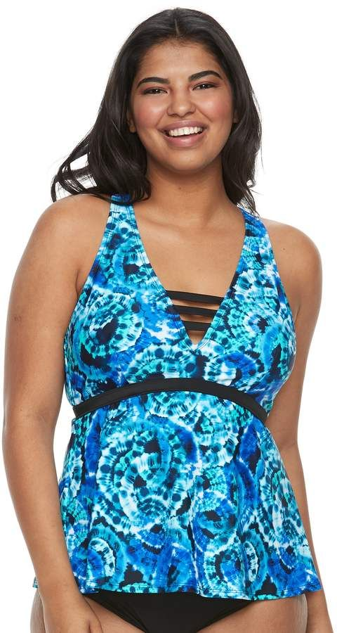 115f2f973d So Plus Size Mix and Match Tie-Dye Apron-Back Tankini Top  #Watch#product#video