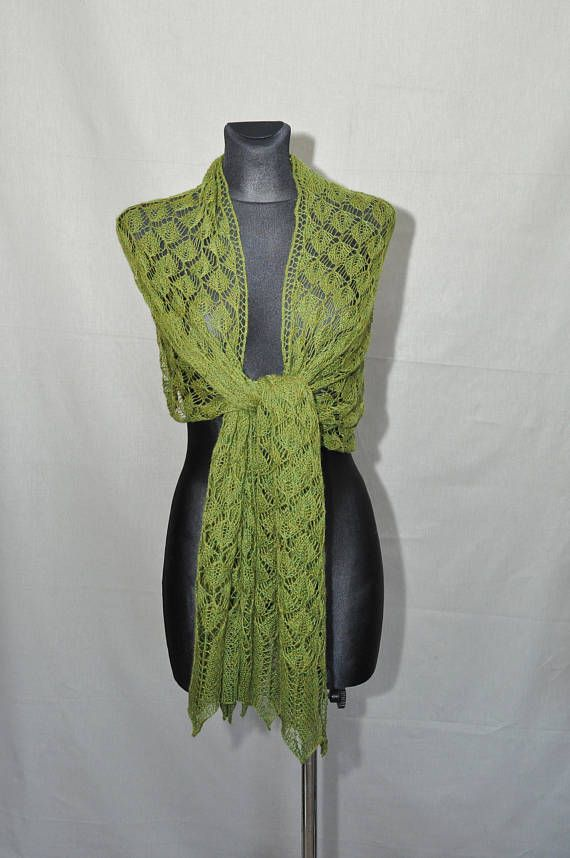 The forest veil  Greenery hand knitted lace shawlwoman's