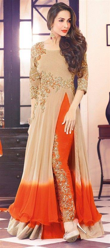 435368: Beige and Brown color family unstitched Bollywood Salwar Kameez, Party Wear Salwar Kameez .