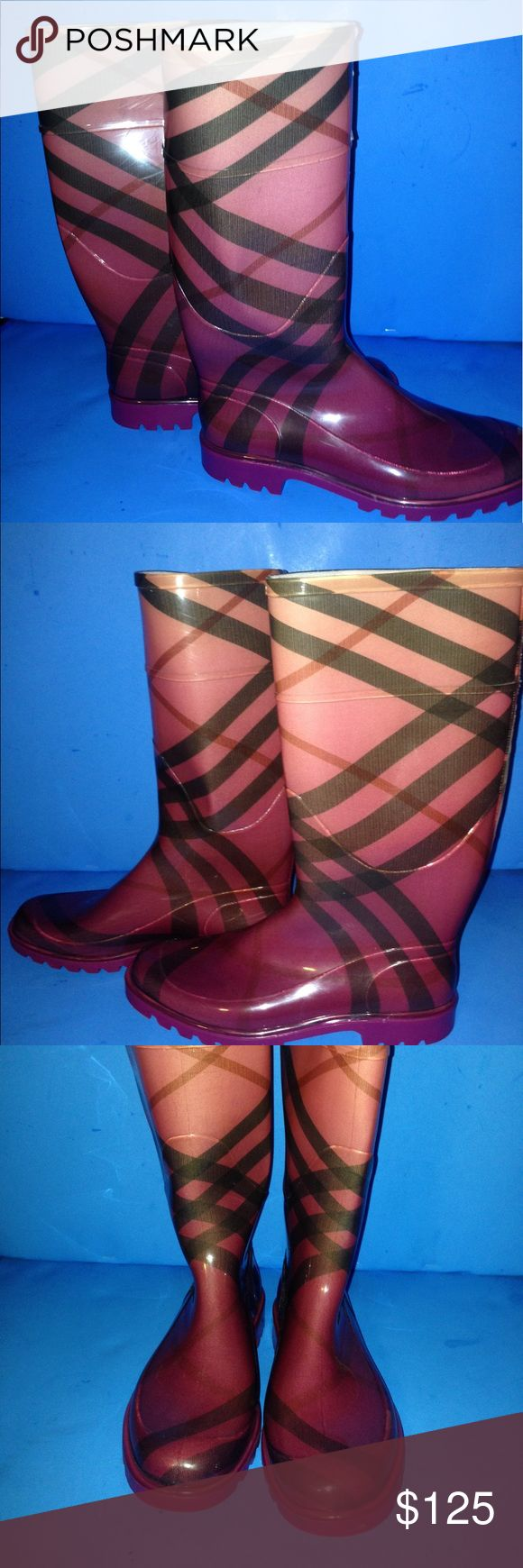 """BURBERRY PINK RUBBER RAIN BOOT SIZE 9 DESCRIPTION Pink House Check Rubber Rain Boots Size 39**Size. 8.5 in the U.S/ Please know your size in this style as this designer tends to run small**  Heel 1"""" Shaft measurement 13"""" Calf circumference 15"""" Pull on used in good condition Burberry Shoes Winter & Rain Boots"""