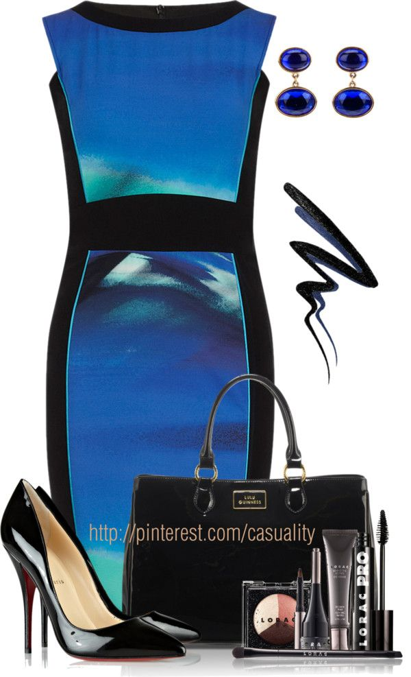 """Patent Leather Pumps & Bold Blue"" by casuality ❤ liked on Polyvore"