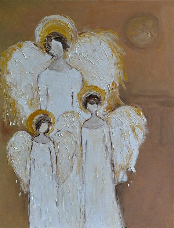 Three Angels White Guardian Angel with Children Angel