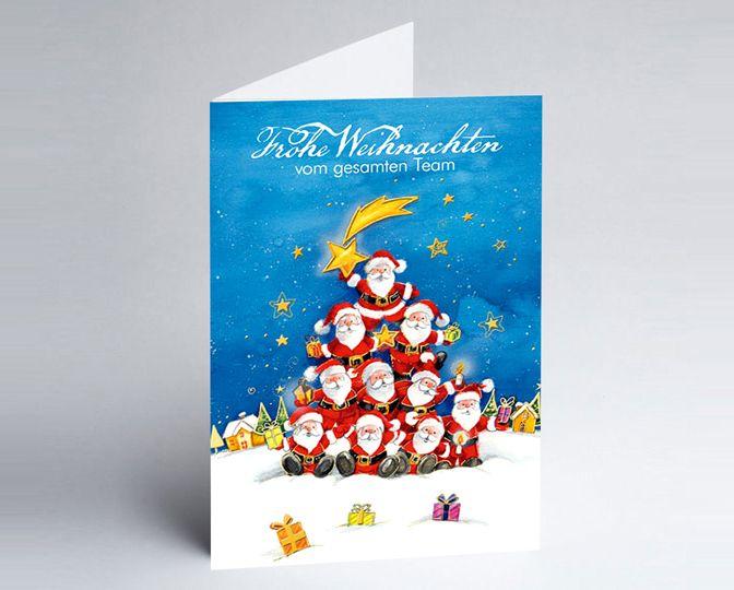 Cartoon Team-Weihnachtskarte mit vielen Weihnachtsmännern http://www.weihnachtskarten-plus.de/weihnachtskarten/teamwork-weihnachtskarte/717-artnr-150110-a-nikolaus-pyramide-teamkarte.html