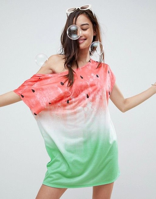 7a0a166a6d DESIGN Watermelon Slouchy Off Shoulder Jersey Beach Cover Up | adventure  attire | Beach covers, Asos et Watermelon