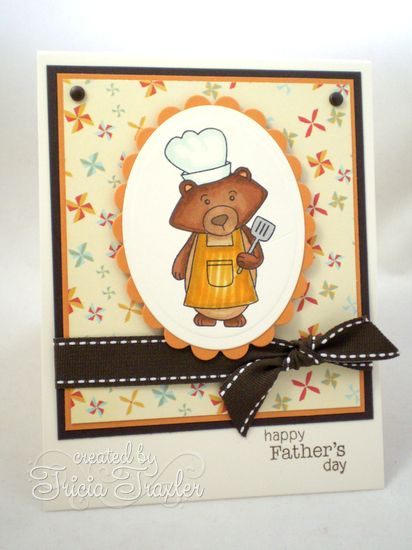 Father's Day Grilling Bear Card by Tricia Traxler | Winston's BBQ | Newton's Nook Designs
