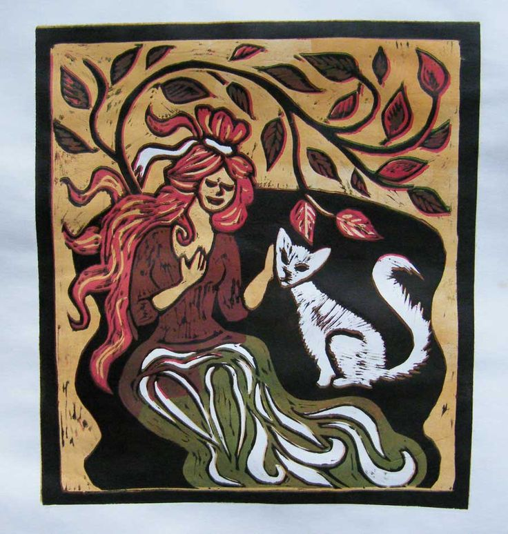 Color fantazy linocut a lady with a cat Linocut