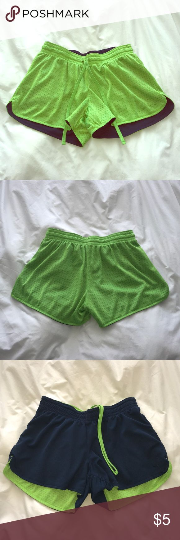 Reversible athletic shorts Neon green / navy blue reversible basketball shorts, good condition Champion Shorts