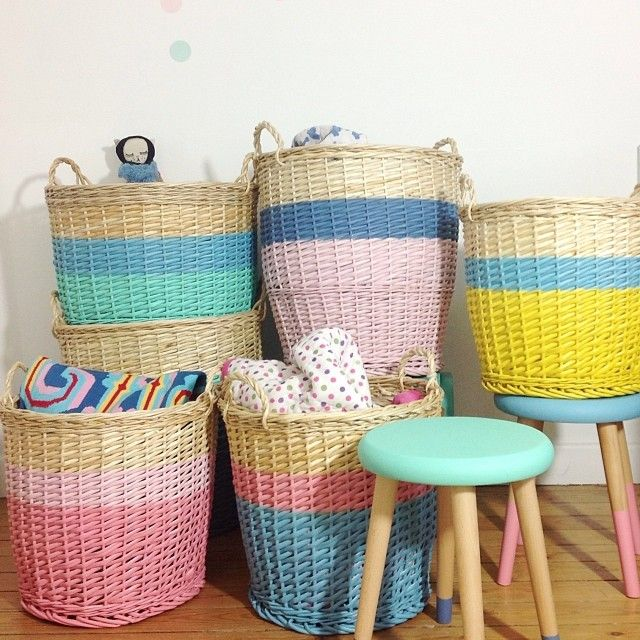 Colorful Baskets and Stools