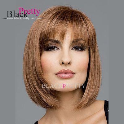 Very Natural Lady's Fashion Synthetic Bob Wigs Straight Style Light Brown Nice And Cheap Wigs Online Natural Bangs,High Quality wig guy,China wig light Suppliers, Cheap wig head from Black Pretty Hair