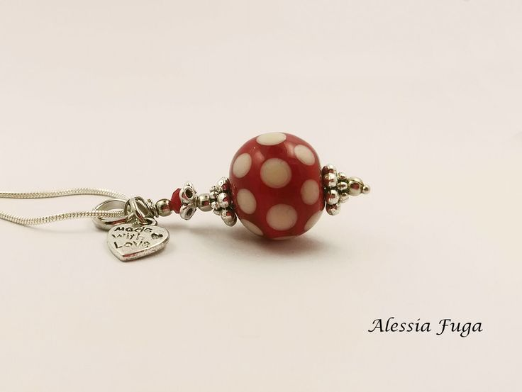Polka dots, red and ivory lampwork glass bead pendent di alessiafuga su Etsy