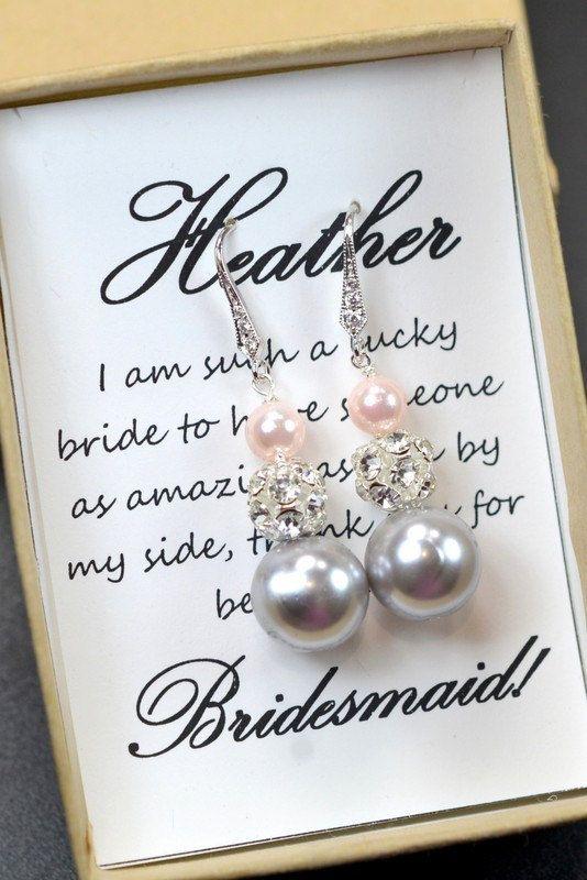 Charcoal gray blush pink ,Wedding Jewelry Bridesmaid Gift Bridesmaid Jewelry Bridal Jewelry Gray pink  Pearl Drop Earrings Cubic Earrings on Etsy, $29.99