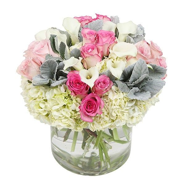 PlantShed | Flamingos & Doves | Flower Delivery NYC | Gorgeous arrangement of pale & hot pink roses, accompanied by 10 white calla lilies, dusty miller and hydrangea.