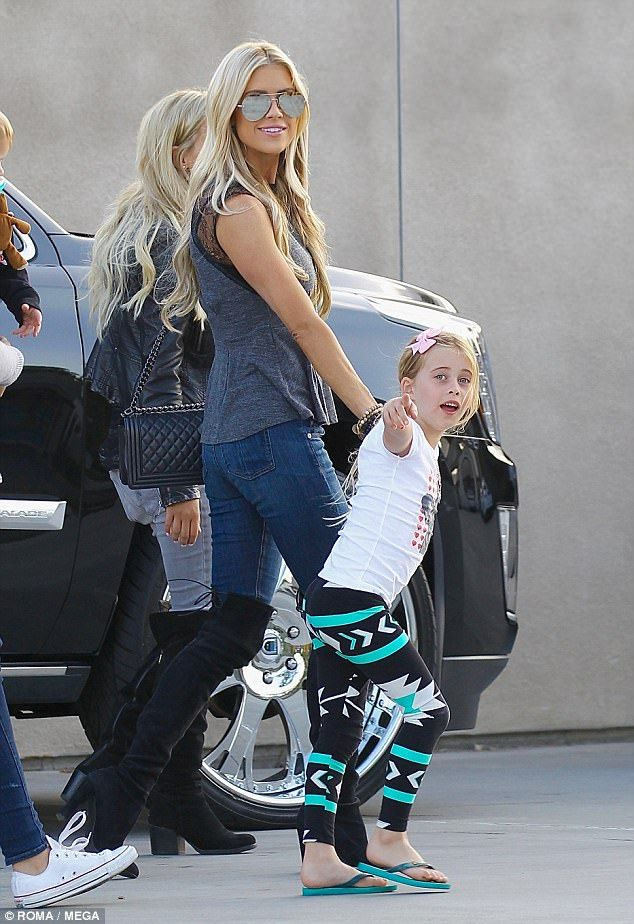 Celebrity style: Christina El Moussa modeled kinky boots while taking her daughter Taylor ...