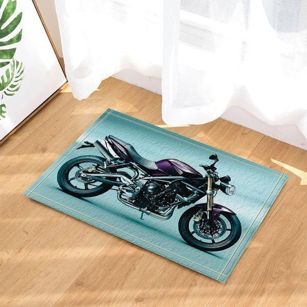 Adventurous Mat Motorcycle Decor Bath Rugs Https