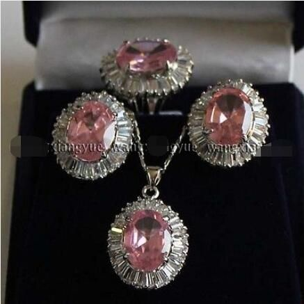 Free Shipping >>new hot Pink Rose Crystal Link Earrings/Ring/ Necklace Pendant Set AAA