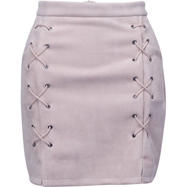 Nude Faux Suede Lace Up Side Pencil Skirt ($26) ❤ liked on Polyvore featuring skirts, bottoms, zipper skirt, bodycon skirt, body con skirt, knee length pencil skirt and purple pencil skirt